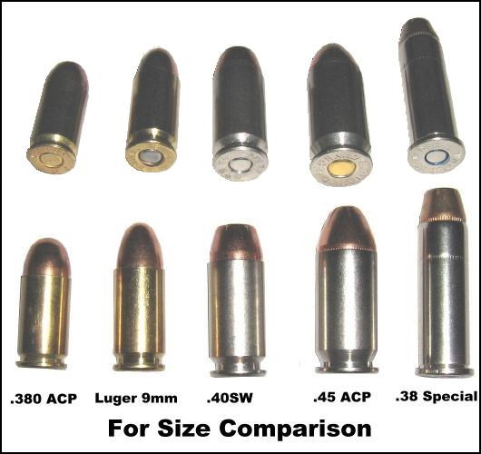 .380 ACP, Luger 9mm, 40SW, .45 ACP, .38 Special ammo