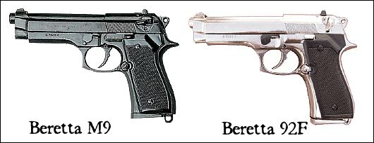 Beretta 92F and M9 semi automatic pistols