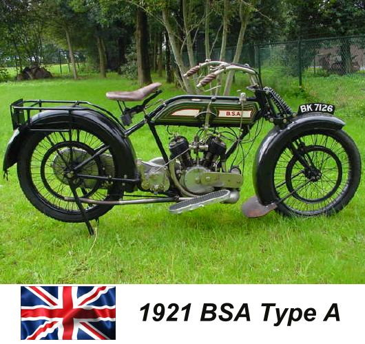 1921 BSA Type A motorcycle