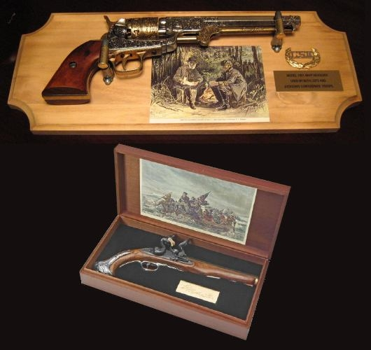 Geroge Washington Flintlock Box Set and Colt 1851 Navy Revolver on Wall Plaque