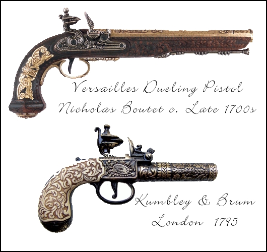 Versailles Dueling Pistol by Nicolas Boutet, British Kumbley & Brum Flintlock Pistol from London, 1795