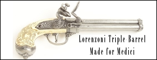 1680 Triple-Barrel Flintlock Pistol for Medici, by Lorenzoni