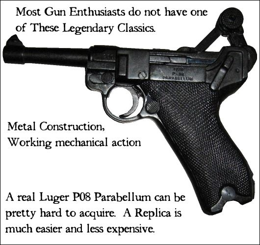 Metal replica Luger P08 Parabellum, with working mechanical action