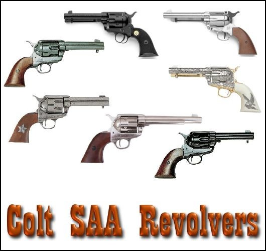 Colt SAA .45 revolvers in different finishes